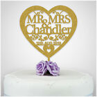 Heart Personalised Wedding Cake Topper Table Decoration Mr Mrs Bride and Groom