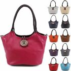 Womens Ladies Italian Wooden Button Braided Handle Slouch Shoulder Tote Handbag