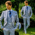 Slim Fit Groom Tuxedos Tailcoat Best Man Suits Wedding Groomsman 3 Piece Suits