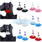 Women Crystal Rhinestone Metal Circle Tassel Dangle Earrings Ear Stud Jewelry