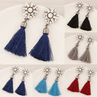 Women Fashion Crystal Rhinestone Tassel Fringe Dangle Earrings Ear Stud Jewelry