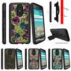 For LG Aristo / LG Fortune LTE Clip Holster Kickstand Case Yellow Purple Flowers