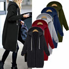 Womens Ladies Winter Autumn Warm Zipper Hoodie Long Coat Jacket Overcoat Outwear