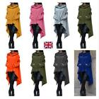 Women Draw Cord Coat Casual Poncho Hooded Hoodies Long Sweatshirt Asymmetric Top