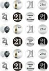 24 x PRECUT 21ST BIRTHDAY SILVER/21 YEAR OLD RICE/WAFER PAPER CUP CAKE TOPPERS