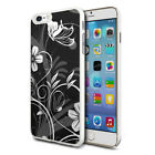 For Various Phones Design Hard Back Case Cover Skin - Black White Flower Mix