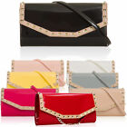 Patent Leather Medium Women Evening Bags Vintage Stud Envelope Clutch Long Strap