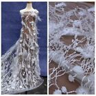 Off white/pink Handmade 3D flowers pearls feather rhinestone wedding dress lace