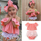 3Pcs Occident Toddler Baby Girls Off Shoulder Suits Clothes Bodysuit Red Cute