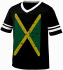 Jamaica Faded Flag Jamaican Country Pride Born From JAM Men's V-Neck Ringer Tee