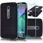 Hybrid Case Cover +Tempered Glass Film For Motorola Moto X Pure Edition X Style