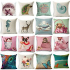 18'' Cute Cartoon Animals Cotton Linen Pillowcase Sofa Cushion Cover Home Decor