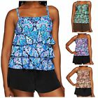 Fit 4 U~Scoop Neck Tiered Swimsuit Top and Shorts~A273954