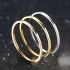 1mm Titanium Steel Band Men Womens Silver/Gold/Rose Gold/Black Tail Ring Sz 4-11 image