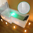 Square L Shape Hand Bath Wihte Acrylic Front Panel+End Panel+6mm Screen 1700mm