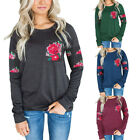 Women Casual Long Sleeve Pockets Floral Printed Sweatshirt T-shirt Tops Pullover