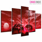 PC043 Red Mist Lakeside Trees  Scenic Multi Frame Canvas Wall Art Print