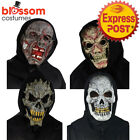 AC246 Hooded Costume Mask Skeleton Halloween Scary Bloody Zombie Corpse Horror