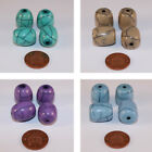 12 x Turquoise/Brown/Purple/Blue Solid Resin Drum Beads with a Crackled Effect