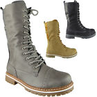 New Womens Ladies Lace Up Mid Calf Ankle Combat Boots Zip Low Heel Shoes Size