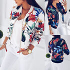 Fashion Womens Ladies Retro Floral Zipper Up Bomber Jacket C