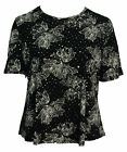 Womens New Plain Black Printed Sparkly Silver Polka Short Sleeve Tops Bnwt LICK