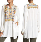 BIYA BY JOHNNY WAS THALIA EMBROIDERED LONG SLEEVE BLOUSE TUNIC TOP NEW WITH TAGS