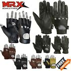 Motorcycle Gloves Leather Bikers Car Driving Full Finger Button Black Brand MRX