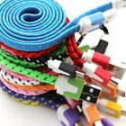 1 Metre 3 ft Braided Fabric Flat microUSB Charger Cable For Samsung Nokia LG