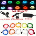 Neon LED Light Glow EL Wire String Strip Rope Tube Car Xmas Party + Controller