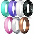 Silicone Wedding Ring Band Rubber 7 Pack Men Women Flexible Gifts Comfortable фото