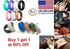 Silicone Wedding Ring Band Rubber 7 Pack Men Women Flexible Gifts Comfortable