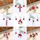 Real Natural Dried Rose Flower Drop Glass Pendant Necklace Earrings Jewellery