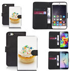 black pu leather wallet case for many mobiles cake pictoral