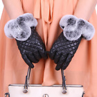 Womens Lambskin LEATHER Real Rex rabbit fur winter warm Touch Screen gloves