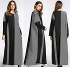 Winter Cotton Casual Striped Patchwork Dress Muslim Women Loose Abaya Maxi Robe