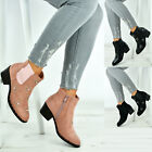 New Womens Ladies Chelsea Ankle Boots Cuban Block Heel Studded Shoes Size Uk 3-8
