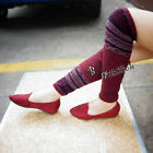 2017 High Knee Winter Warmers Leggings Mixed Color Knit Wave Pattern Socks