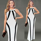 Womens Elegant Contrast Color-Block Formal Party Evening Long Maxi Sheath Dress