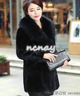 Womens Thicked Faux Fur Jaclet Luxury Furry Collar Mid Long Outdoor Coat Winter