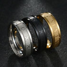 6mm Silver/gold/black Roman Numerals Ring Mens Stainless Steel Punk Band Sz 7-13