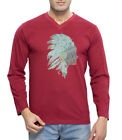 Clifton Men's Printed Full Sleeve V-Neck T-Shirt-Maroon -Tribe-1
