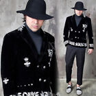 NewStylish Mens Fashion Luxurious Embroidered Velour Double Breast Short Blazer