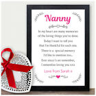 NANNY PERSONALISED Keepsake Poem Christmas Gifts Xmas Presents Granny Nan Nanna
