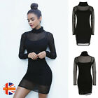 50 Shades Womens Sexy LBD Black Mesh Turtle Neck Bodycon Mini Party Dress