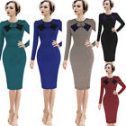Women Elegant Vintage Pinup Retro 50s Houndstooth Work Party Sheath Wiggle Dress