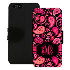 MONOGRAMMED WALLET CASE FOR iPHONE X 8 7 6 5 PLUS HOT PINK BLACK PAISLEY