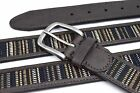 Belt Columbia Brown Leather/Fabric Inlay/Blue Blk Gld Whte 32 36 38 40 44 Men