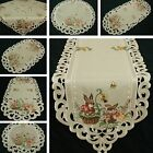Внешний вид - Easter Table runner Doily Tablecloth Linen-look Beige Natur Bunny Embroidery NEW