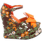 Show Story Woman Brown Orange Floral Print Bow Ankle Strap Wedge Platform